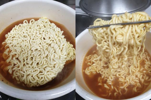 매운 맛 짜파구리 핵심은 면과 스프를 함께 끓이는 것